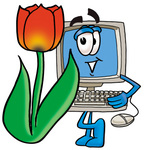 Clip Art Graphic of a Desktop Computer Cartoon Character With a Red Tulip Flower in the Spring
