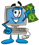 Clip Art Graphic of a Desktop Computer Cartoon Character Holding a Dollar Bill