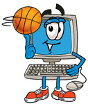 Clip Art Graphic of a Desktop Computer Cartoon Character Spinning a Basketball on His Finger