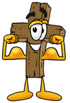 Clip Art Graphic of a Wooden Cross Cartoon Character Flexing His Arm Muscles