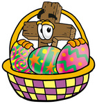 Clip Art Graphic of a Wooden Cross Cartoon Character in an Easter Basket Full of Decorated Easter Eggs