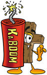Clip Art Graphic of a Wooden Cross Cartoon Character Standing With a Lit Stick of Dynamite