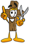 Clip Art Graphic of a Wooden Cross Cartoon Character Holding a Pair of Scissors