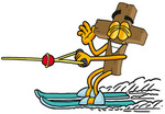 Clip Art Graphic of a Wooden Cross Cartoon Character Waving While Water Skiing