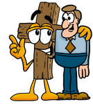 Clip Art Graphic of a Wooden Cross Cartoon Character Talking to a Business Man