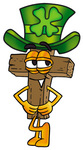 Clip Art Graphic of a Wooden Cross Cartoon Character Wearing a Saint Patricks Day Hat With a Clover on it