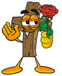 Clip Art Graphic of a Wooden Cross Cartoon Character Holding a Red Rose on Valentines Day