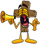 Clip Art Graphic of a Wooden Cross Cartoon Character Screaming Into a Megaphone
