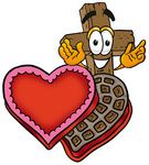 Clip Art Graphic of a Wooden Cross Cartoon Character With an Open Box of Valentines Day Chocolate Candies