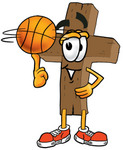 Clip Art Graphic of a Wooden Cross Cartoon Character Spinning a Basketball on His Finger
