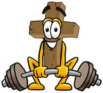 Clip Art Graphic of a Wooden Cross Cartoon Character Lifting a Heavy Barbell