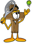 Clip Art Graphic of a Wooden Cross Cartoon Character Preparing to Hit a Tennis Ball