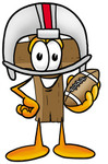 Clip Art Graphic of a Wooden Cross Cartoon Character in a Helmet, Holding a Football