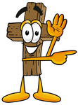 Clip Art Graphic of a Wooden Cross Cartoon Character Waving and Pointing