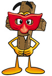 Clip Art Graphic of a Wooden Cross Cartoon Character Wearing a Red Mask Over His Face