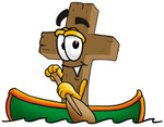 Clip Art Graphic of a Wooden Cross Cartoon Character Rowing a Boat