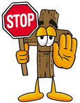 Clip Art Graphic of a Wooden Cross Cartoon Character Holding a Stop Sign