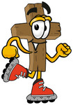 Clip Art Graphic of a Wooden Cross Cartoon Character Roller Blading on Inline Skates
