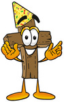 Clip Art Graphic of a Wooden Cross Cartoon Character Wearing a Birthday Party Hat