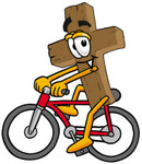 Clip Art Graphic of a Wooden Cross Cartoon Character Riding a Bicycle