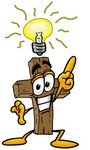 Clip Art Graphic of a Wooden Cross Cartoon Character With a Bright Idea