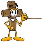 Clip Art Graphic of a Wooden Cross Cartoon Character Holding a Pointer Stick