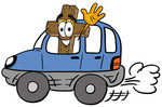 Clip Art Graphic of a Wooden Cross Cartoon Character Driving a Blue Car and Waving