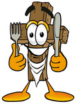 Clip Art Graphic of a Wooden Cross Cartoon Character Holding a Knife and Fork