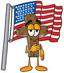 Clip Art Graphic of a Wooden Cross Cartoon Character Pledging Allegiance to an American Flag