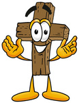 Clip Art Graphic of a Wooden Cross Cartoon Character With Welcoming Open Arms