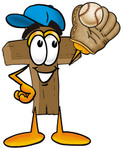 Clip Art Graphic of a Wooden Cross Cartoon Character Catching a Baseball With a Glove