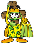 Clip Art Graphic of a Wooden Cross Cartoon Character in Green and Yellow Snorkel Gear