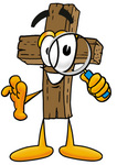 Clip Art Graphic of a Wooden Cross Cartoon Character Looking Through a Magnifying Glass