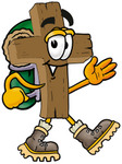 Clip Art Graphic of a Wooden Cross Cartoon Character Hiking and Carrying a Backpack