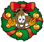 Clip Art Graphic of a Wooden Cross Cartoon Character in the Center of a Christmas Wreath