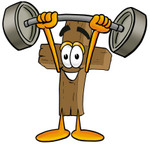 Clip Art Graphic of a Wooden Cross Cartoon Character Holding a Heavy Barbell Above His Head