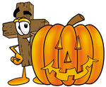 Clip Art Graphic of a Wooden Cross Cartoon Character With a Carved Halloween Pumpkin