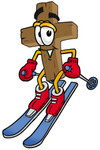 Clip Art Graphic of a Wooden Cross Cartoon Character Skiing Downhill
