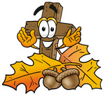 Clip Art Graphic of a Wooden Cross Cartoon Character With Autumn Leaves and Acorns in the Fall