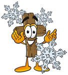 Clip Art Graphic of a Wooden Cross Cartoon Character With Three Snowflakes in Winter