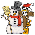 Clip Art Graphic of a Wooden Cross Cartoon Character With a Snowman on Christmas