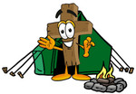 Clip Art Graphic of a Wooden Cross Cartoon Character Camping With a Tent and Fire