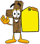 Clip Art Graphic of a Wooden Cross Cartoon Character Holding a Yellow Sales Price Tag