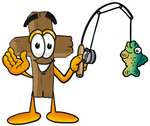 Clip Art Graphic of a Wooden Cross Cartoon Character Holding a Fish on a Fishing Pole