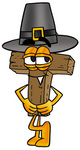 Clip Art Graphic of a Wooden Cross Cartoon Character Wearing a Pilgrim Hat on Thanksgiving