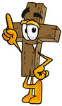 Clip Art Graphic of a Wooden Cross Cartoon Character Pointing Upwards
