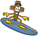 Clip Art Graphic of a Wooden Cross Cartoon Character Surfing on a Blue and Yellow Surfboard