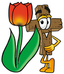 Clip Art Graphic of a Wooden Cross Cartoon Character With a Red Tulip Flower in the Spring