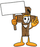 Clip Art Graphic of a Wooden Cross Cartoon Character Holding a Blank Sign