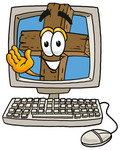 Clip Art Graphic of a Wooden Cross Cartoon Character Waving From Inside a Computer Screen